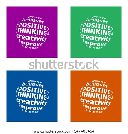 positive thinking - flat design or metro design - trend colors - stock photo