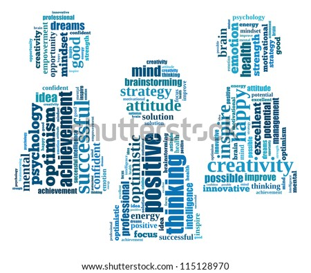 Positive thinking info-text graphics and arrangement concept (word clouds) on white background - stock photo