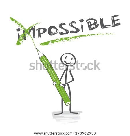 Positive thinking, Motivation, stick figure, success - stock photo