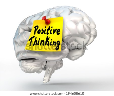 positive thinking note paper on brain conceptual image, clipping path included - stock photo