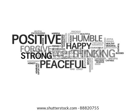 Positive words info-text graphics and arrangement concept on white background (word clouds) - stock photo