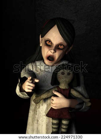 Possessed Little Girl - A possessed little girl with glowing red eyes holding a doll is pointing at you. Happy Halloween - stock photo
