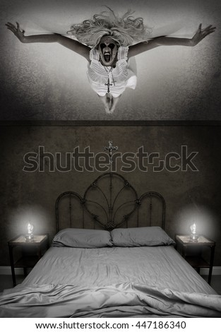 Possessed Woman hovering over a bed