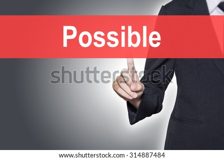 Possible Business woman pressing hand word on virtual screen - stock photo