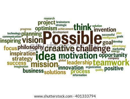 Possible, word cloud concept on white background. - stock photo