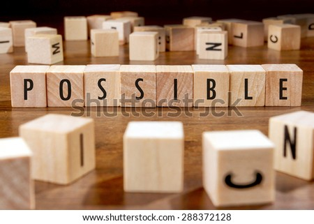 POSSIBLE word written on wood block - stock photo