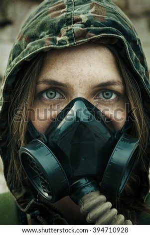 Post apocalypse female survivor  - stock photo