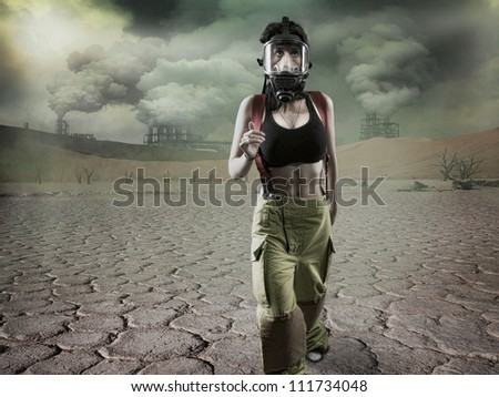 Post Apocalyptic scene - grain added - stock photo