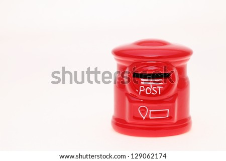 Post bank style money box on a white studio background