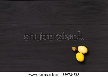 Post blog social media Easter. View from above with copy space. Banner template layout mockup for happy Easter. Black wooden table, top view on workplace. Have Yourself Happy Easter. Minimalist style - stock photo