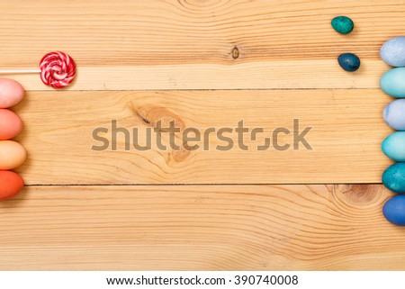 Post blog social media Easter. View from above with copy space. Banner template layout mockup for happy Easter. Wooden table, top view on workplace. Colored eggs at the office Desk. - stock photo