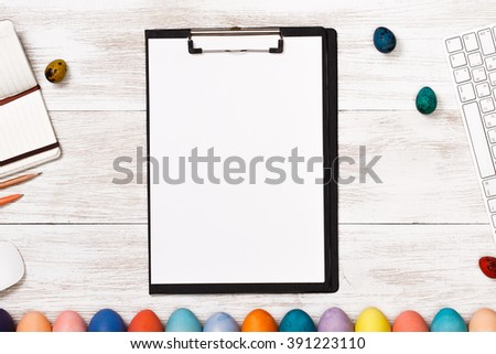 Post blog social media Easter. View from above with copy space. Banner template layout mockup for happy Easter. White wooden table, top view on workplace. Have Yourself a Happy Easter  - stock photo
