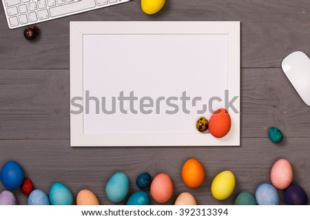 Post blog social media Easter. View from above with copy space. Banner template layout mockup. Gray wooden table, top view on workplace. Desktop workplace designer, painter top view - stock photo