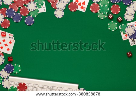 Post blog social media poker. View from above with copy space. Banner template layout mockup for online casino. Green table, top view on workplace. - stock photo