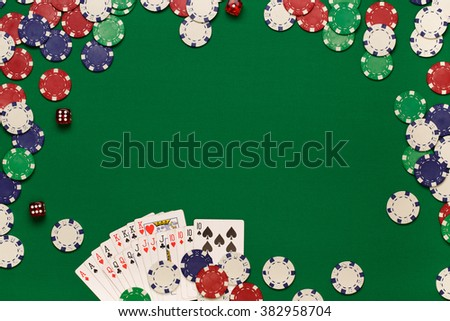 Post blog social media poker. View from above with copy space. Banner template layout mockup for online casino. Green table, top view on workplace. banner for online casinos and gambling - stock photo