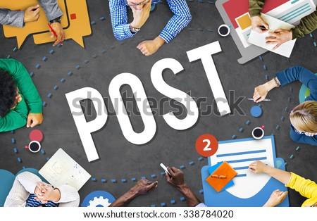 Post Blog Social Media Share Online Communication Concept - stock photo