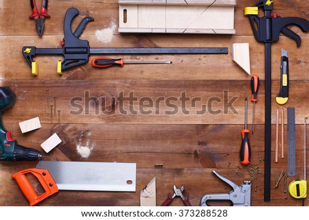 Post blog social media. View from above with copy space. Background for banner template layout mockup. Brown wooden table, top view on workplace. desktop joiner - stock photo