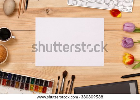 Post blog social media. View from above with copy space. Banner template layout mockup. Pink wooden table, top view on workplace. Desktop workplace designer, teamwork, painter top view - stock photo