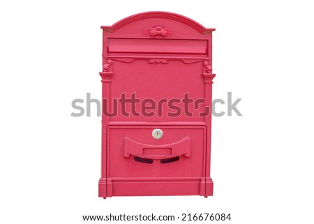 Post Box, Red post box isolated on white Background, Traditional red post box in a wall