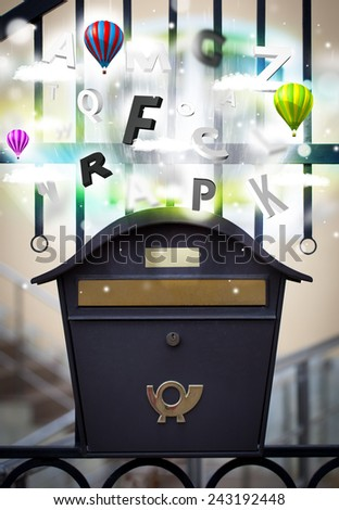 Post box with colorful abstract letters - stock photo