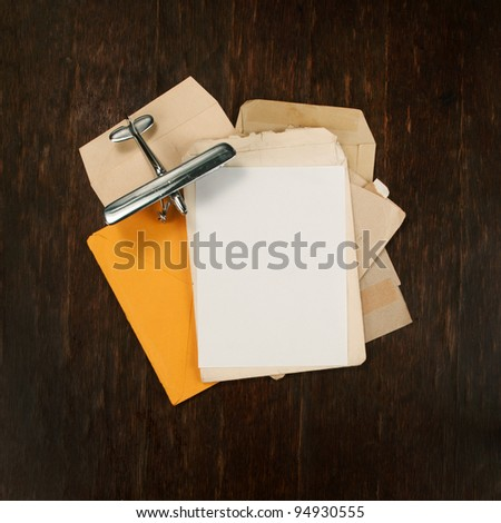post cover and envelopes with model airplane as background square