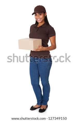 Post Delivery Service Woman. Isolated On White Background - stock photo