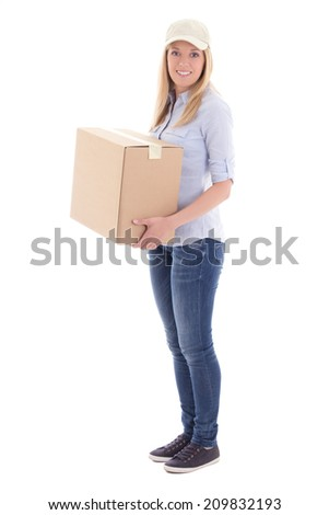 post delivery woman holding cardboard box isolated on white background