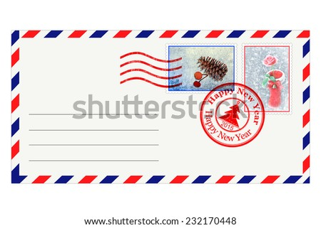 Post envelope with special New Year stamps - stock photo