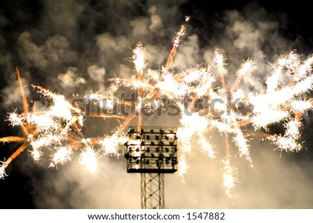 Post game fireworks - stock photo