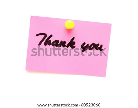 post it note with hand printed thank you isolated - stock photo