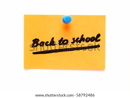 post-it note with handprinted back to school isolated - stock photo