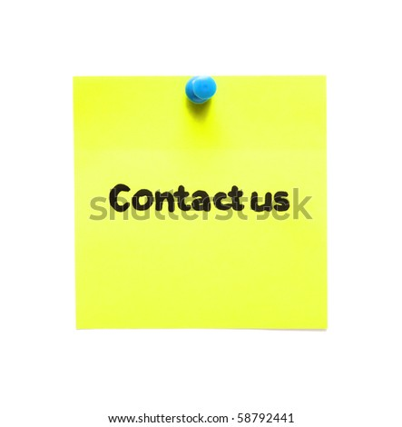 post-it note with handprinted contact us isolated - stock photo