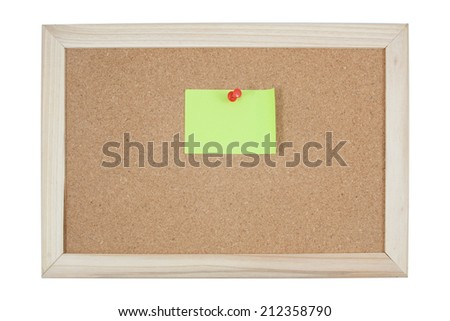 post it notes on corkboard on white background