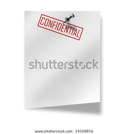 post-it with 'confidential' on a white background