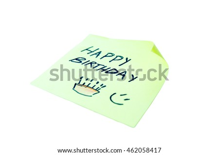 Post it with happy birthday written on a white background