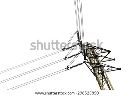 post junction of the high voltage electricity with white background - stock photo