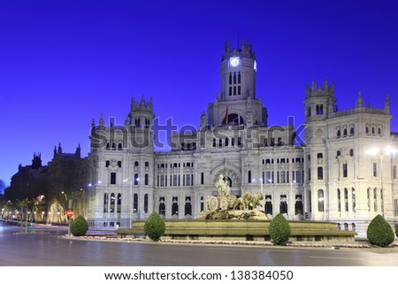 Post Office Building at Cibeles Square at morning in Madrid, Spain.