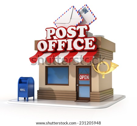 post office 3d illustration - stock photo