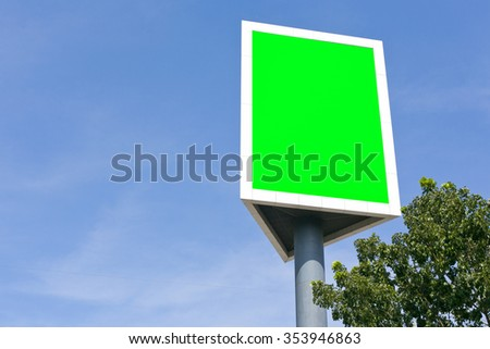 Post sign blank outdoor on the sky and tree.