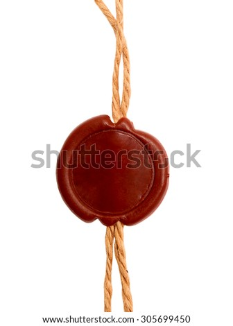 Post stamps , Empty seal wax with the cord isolated on white - stock photo