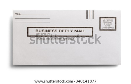 Postage Paid Business Reply Letter Isolated On A White Background