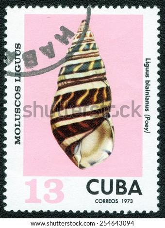 Postage stamp Cuba 1973 Liguus Blainius Shell - stock photo