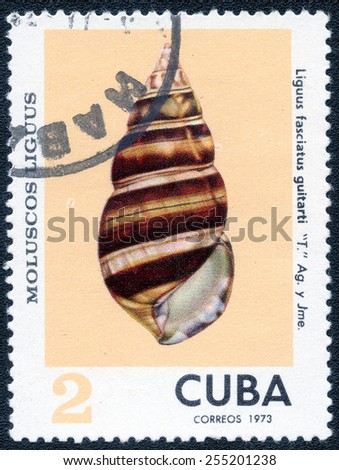 Postage stamp Cuba 1973 Liguus Fasciatus Fasciatus Guitarti, Shell - stock photo