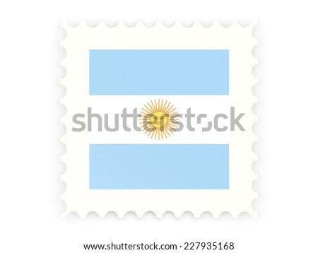 Postage stamp icon of argentina isolated on white - stock photo