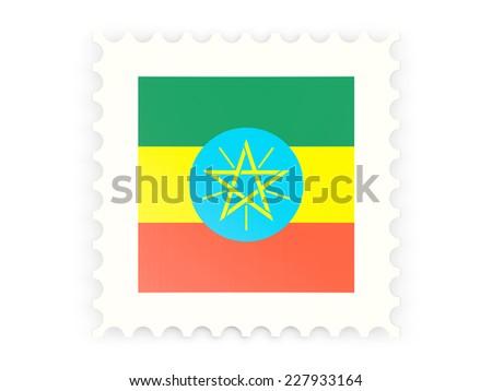 Postage stamp icon of ethiopia isolated on white - stock photo