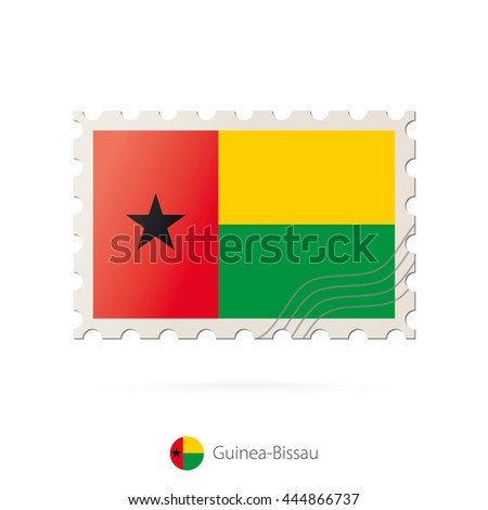 Postage stamp with the image of Guinea-Bissau flag. Raster copy.