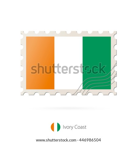 Postage stamp with the image of Ivory Coast flag. Raster copy.