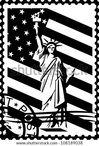 Postage stamp with the symbols of America. Black and white illustration.