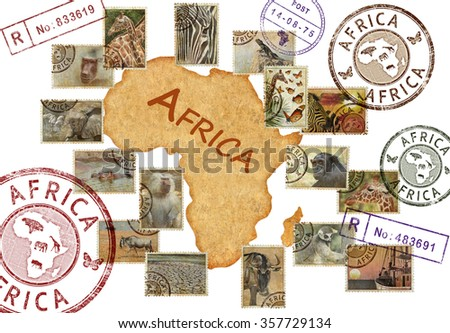 Postage stamps with Africa animals and nature symbols. Vintage style. Africa wild life protect concept. Isolated on a white background - stock photo