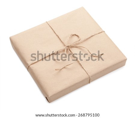Postal parcel on a white background isolated - stock photo